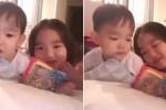 사이좋게 누나와 젤리 나눠먹는 '엉아' 다을이 (영상)