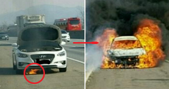 고속도로 달리던 현대차 신형 '그랜저 IG' 화재로 전소