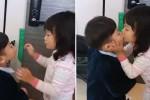 유치원 가기 전 누나에게 뽀뽀해달라며 입 내미는 대박이 (영상)