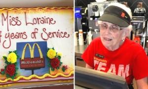 44년간 맥도날드에서 일한 94세 할머니 위해 파티해 준 마을주민들