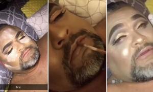 낮잠 자는 아빠 얼굴에 '풀 메이크업' 해준 딸 (영상)