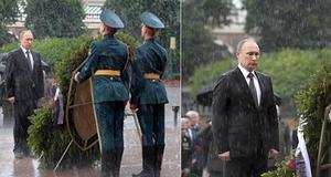 현충일에 '폭우' 맞으며 헌화하는 푸틴 러시아 대통령
