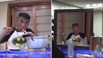 거울에 비친 자기 모습 보면서 혼자 라면 흡입하는 김건모 (영상)