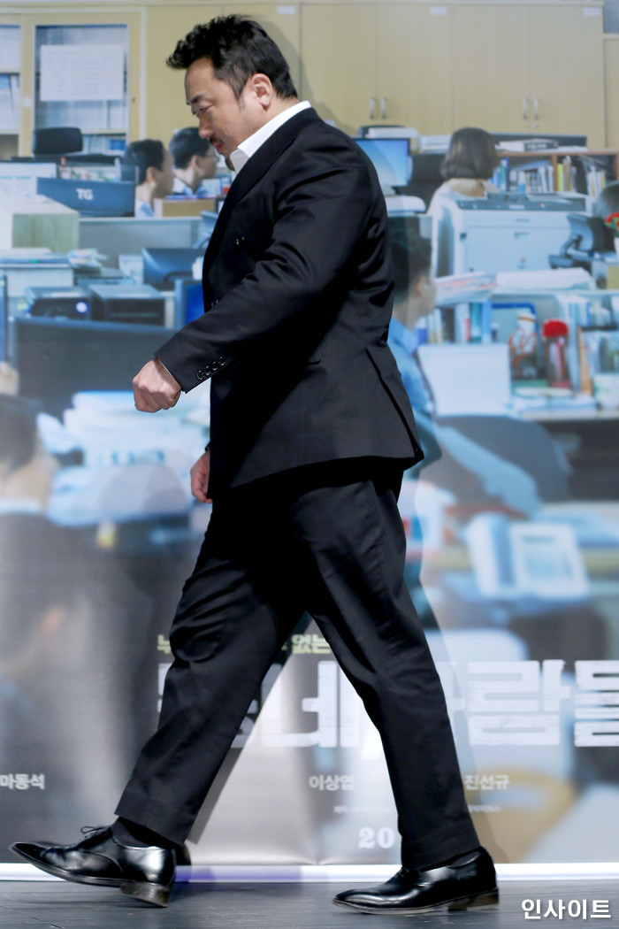 배우 마동석이 8일 오전 서울 강남구 CGV 압구정에서 열린 영화 '동네사람들' 제작보고회에 참석하고 있다. / 사진=박찬하 기자 chanha@