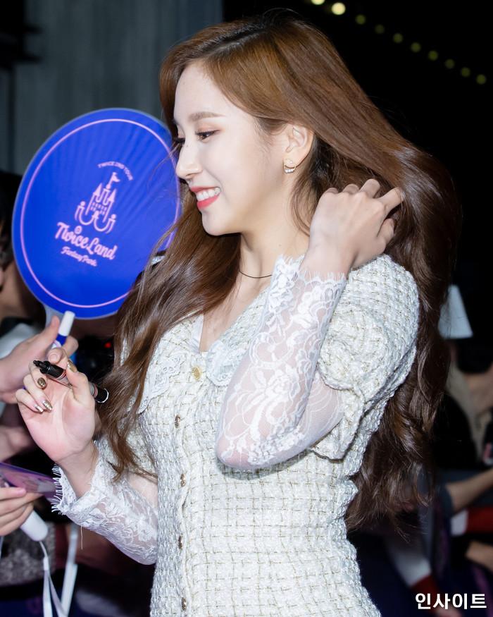 트와이스 미나가 6일 오후 서울 용산CGV 아이파크몰에서 열린 영화 '트와이스랜드' 언론시사회에 참석해 레드카펫을 밟고 있다. / 사진=고대현 기자 daehyun@