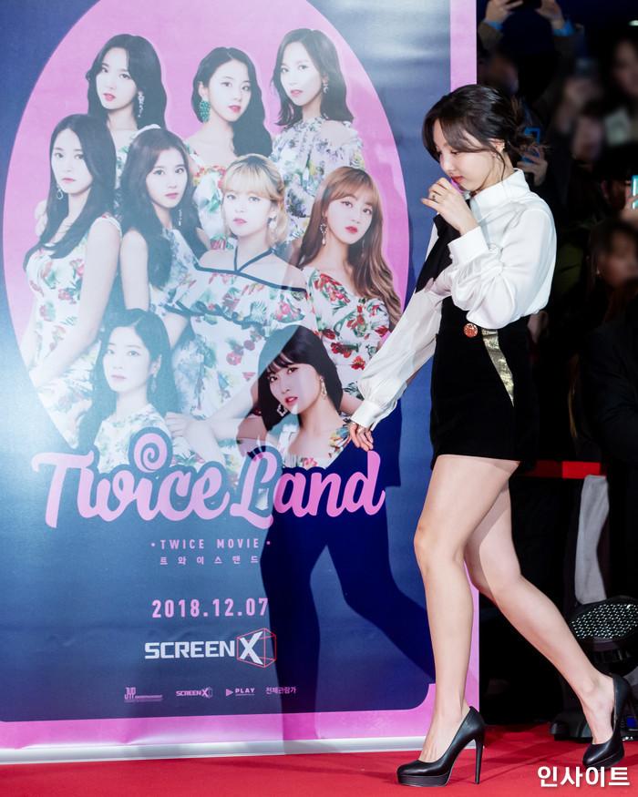 트와이스 나연이 6일 오후 서울 용산CGV 아이파크몰에서 열린 영화 '트와이스랜드' 언론시사회에 참석해 레드카펫을 밟고 있다. / 사진=고대현 기자 daehyun@