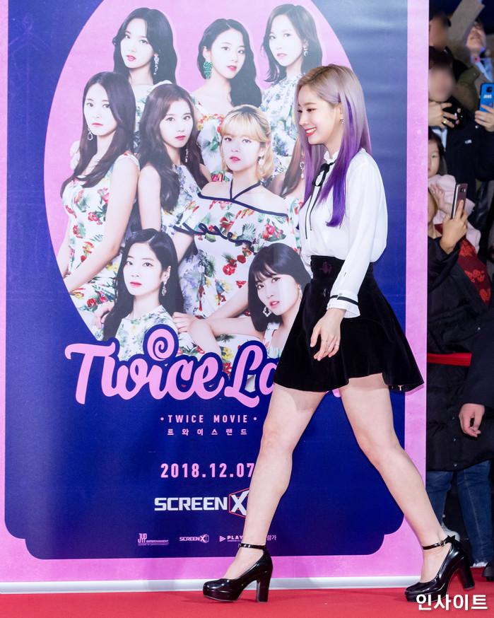 트와이스 다현이 6일 오후 서울 용산CGV 아이파크몰에서 열린 영화 '트와이스랜드' 언론시사회에 참석해 레드카펫을 밟고 있다. / 사진=고대현 기자 daehyun@