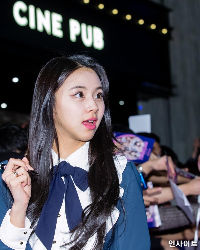 트와이스 쯔위가 6일 오후 서울 용산CGV 아이파크몰에서 열린 영화 '트와이스랜드' 언론시사회에 참석해 레드카펫을 밟고 있다. / 사진=고대현 기자 daehyun@
