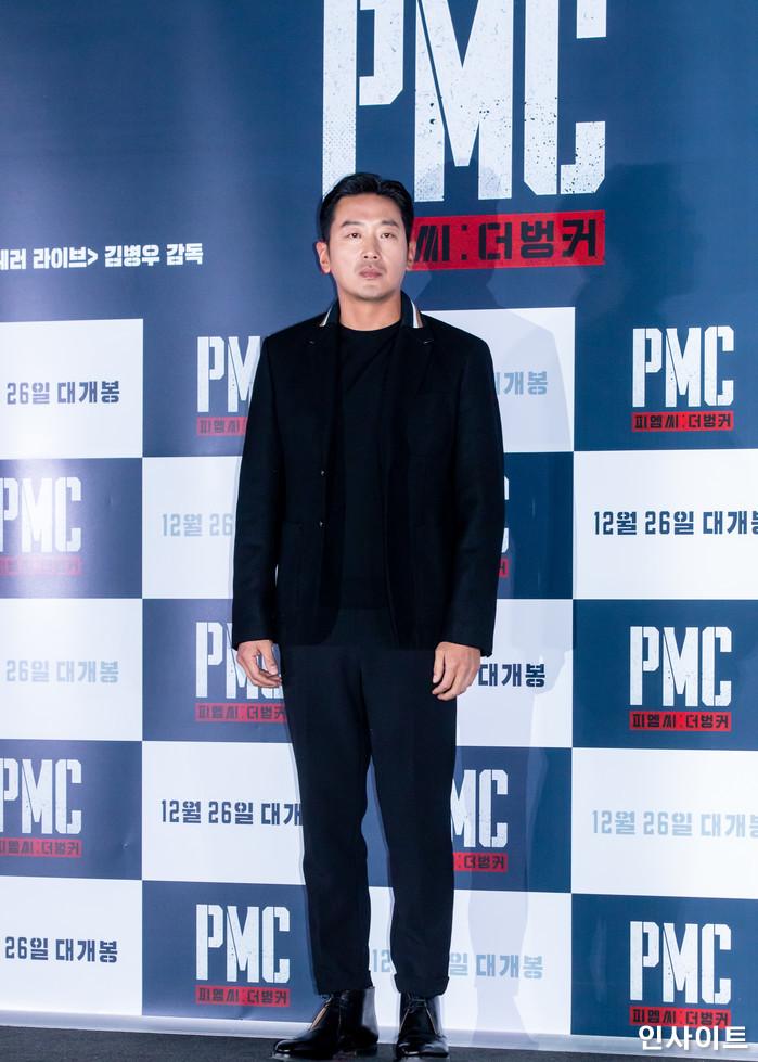 배우 하정우가 19일 오후 서울 용산CGV에서 열린 영화 'PMC - 더 벙커' 언론시사회에 참석해 포즈를 취하고 있다. / 사진=고대현 기자 daehyun@