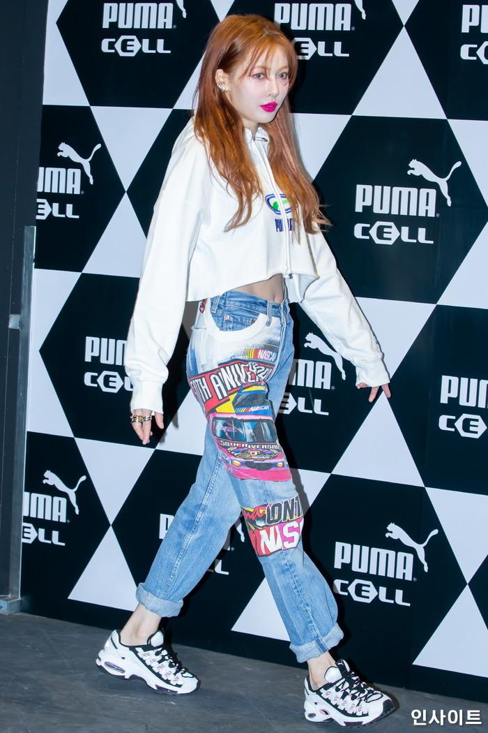 가수 현아가 25일 오후 서울 용산구 한 당구장에서 열린 푸마 셀 스튜디오 오픈 기념 행사에 참석해 포즈를 취하고 있다. / 사진=박찬하 기자 chanha@
