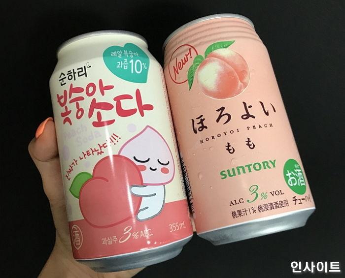 일본 호로요이와 맛+색감+콘셉트 유사한 '복숭아 소다' 출시한 롯데주류 - 인사이트