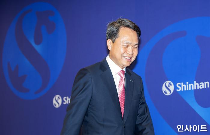 26일 오후 진옥동 은행장이 서울 중구 신한은행 본점에서 열린 취임 기자간담회에 참석하고 있다. / 사진=박찬하 기자 chanha@